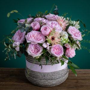 Romantic Juliet Garden | Pink Roses Basket Arrangement | LPV HK